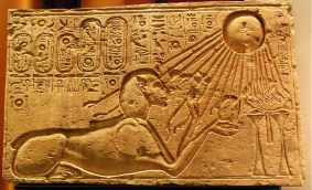Akhenaten depicted as a sphinx at Amarna, bathed in the rays of the aten/sun