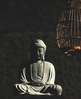 photograph-of-a-statue-of-the-buddha-in-provocative-proximity-to-a-cage