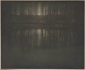 Edward Steichen + The Pond - Moonrise + 1904 + platinum print with applied colorMetmuseum