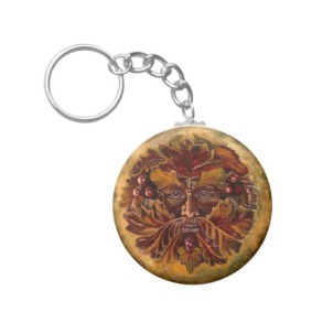 view or buy Green Man round key ring
