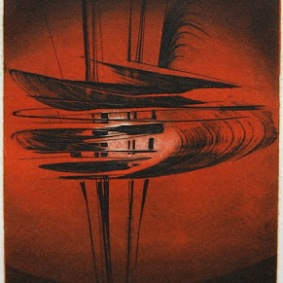 Albert Einstein: Mein Weltbild VII, 1975 (Terry Haass's last etching, evoking the flight of a bird)
